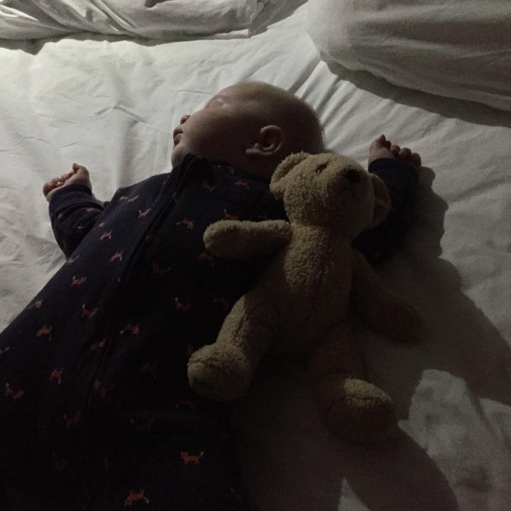 Here you are passed out at a hotel in Indianapolis after a looooooong day of traffic jams and boob-in-face. You're with your miś (Polish for Teddy bear), and enjoying the momentary trappings of a king bed.